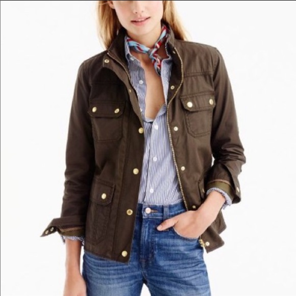 J. Crew Relaxed Boyfriend Field Jacket Utility Waxed Cotton Green Gold Buttons